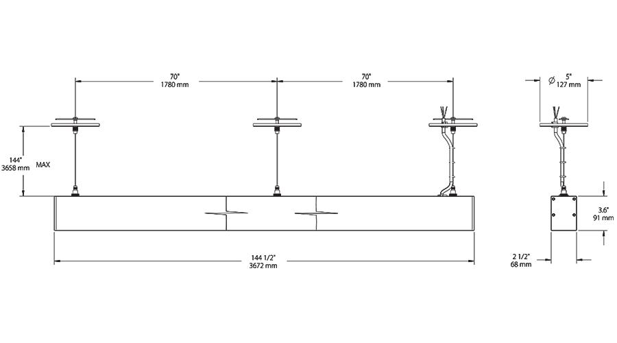 Gray Finish 3000 K Color Temperature RAB Lighting ALED2T105SFYRG//480 LED High Wattage Type II Area Light Warm Standard Type